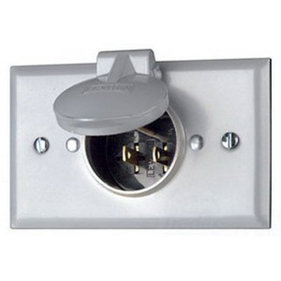 Flanged Inlet Locking Receptacle 250 Volt White Leviton 2325 20 Amp Grounding Industrial Grade