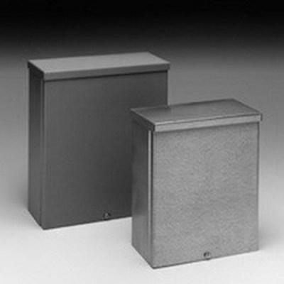 B-Line 10104RTSCNK Cooper B-Line 10104RTSC-NK Junction Box; 16 Gauge Galvanized Steel, ANSI 61 Gray, Wall Mount, Screw-On Cover