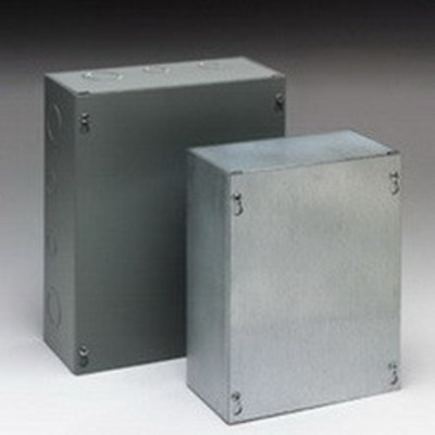 B-Line 12128SCNK Cooper B-Line 12128SC-NK Junction Box; 16 Gauge Steel, ANSI 61 Gray, Wall Mount, Screwed Cover