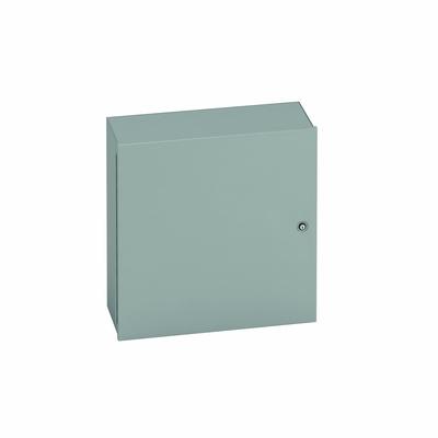 B-Line 20166-1 Cooper B-Line 20166-1 Medium Solid Single Door Flush Latch Style Panel Enclosure; 16 Gauge Steel, ANSI 61 Gray, Wall Mount, Hinged Cover