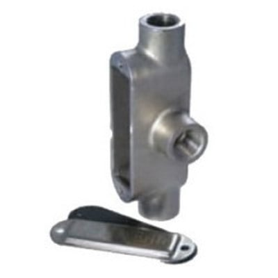 Calpipe Industries S60700TE00 CalConduit S60700TE00 Calbrite™ Tee Conduit Body; 3/4 Inch, Form 8, 316 Stainless Steel