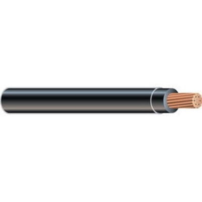 Copper Wire THHN-STR-6 BLACK CU WIRE 500FT REEL Copper Building Wire THHN Cable; 6 AWG, 19 Stranded, Copper Conductor, Black, 500 ft Reel