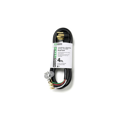 Epco Engineered Products Compa 40030 Engineered Products 400304 4 Ft Replacement Dryer Cord; 30 Amp, Black
