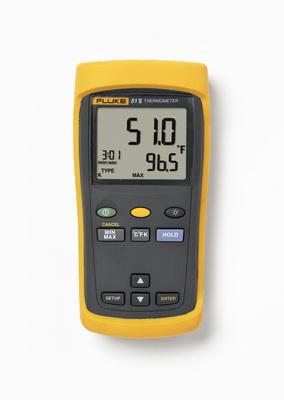Fluke Corporation - Meters FLUKE-51-260HZ Fluke FLUKE-51-2 60HZ Single Input Digital Thermometer; 0.1 deg C, 0.1 K < 1000, 1 deg C, 1 K = 1000 Display Resolution