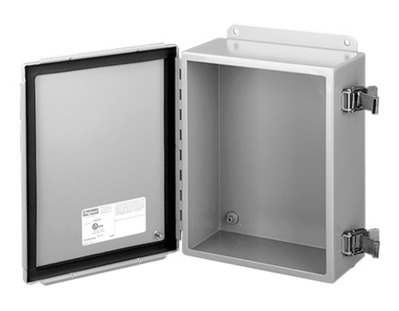 Hoffman Enclosures A1210CHQR Hoffman A1210CHQR Enclosure; 5 Inch Depth, 14 Gauge Steel, ANSI 61 Gray, Gasketed/Hinged Cover