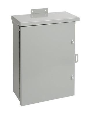 Hoffman Enclosures A24R248HCR Hoffman Pentair A24R248HCR Solid Single Door Medium Equipment Protection Enclosure; 14 or 16 Gauge Galvanized Steel, ANSI 61 Gray, Wall Mount, Hinged/Padlocking Cover