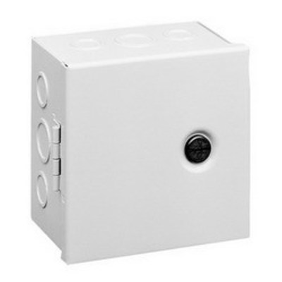 Hoffman Enclosures AHE8X8X4 Hoffman AHE8X8X4 Pull Box; 4 Inch Depth, 16 or 14 Gauge Steel, ANSI 61 Gray, Surface Mount, Hinged Cover