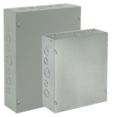 Hoffman Enclosures ASE12X10X4 Hoffman ASE12X10X4 Pull Box; 4 Inch Depth, Steel, ANSI 61 Gray, Wall Mount, Flat/Screw-On Cover