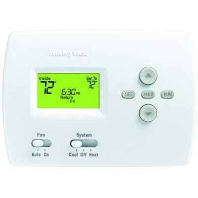 Honeywell Thermostats TH4110D1007/U Honeywell TH4110D1007 Programmable Thermostat; 20 - 30 Volt, Heat Current: 0.02 - 1.0 Amp Running; Cool Current: 0.02 - 1.0 Amp Running, White