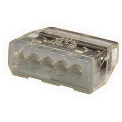 Ideal 30-087J Ideal 30-087J Push-In Wire Connector; 12-20 AWG, 600 Volt Maximum Building Wire, 5 Port, Gray, 150/PK