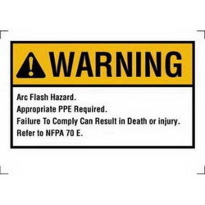 Ideal 44-896 Ideal 44-896 NEC Arc Flash Protection Sign and Label; Warning, Self-Sticking Polyester, 7 Inch x 5 Inch, White/Yellow, Black Legend