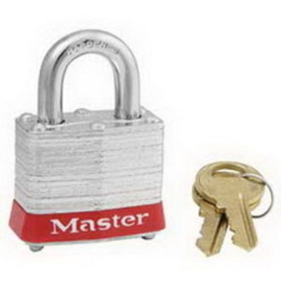 Ideal 44-907 Ideal 44-907 Padlock With Shackle; Steel Case, Nickel-Plated Shackle, Red