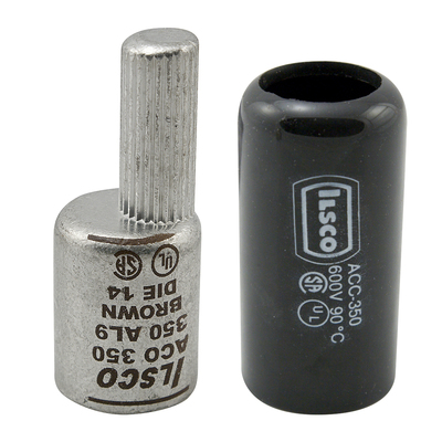 Ilsco ACO-3/0 Ilsco ACO-3/0 Dual Rated Compression Pin Terminal with Insulating Cover; 600 Volt, 3/0 AWG Copper/Aluminum, 1/0 AWG Pin Conductor, Chamfered Barrel, Aluminum, White, Electro Tin-Plated