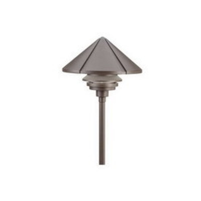 Kichler Lighting 15211AZT Kichler 15211AZT 1-Tier Dome Path and Spread Light; 75 Watt, 120 Volt AC, Textured Architectural Bronze Housing, High-Impact Resistant Diffuser, Clear Polycarbonate Glass, Black
