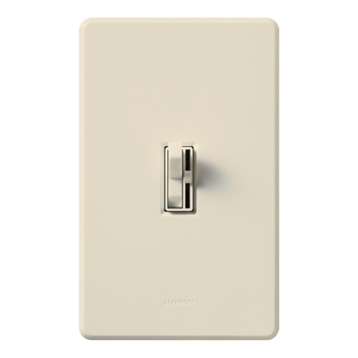 LUTRON AY-103P-LA Lutron AY-103P-LA Ariadni® Single Pole 3-Way Preset Slide Dimmer with Toggle Switch; 120 Volt AC, 1000 Watt, Incandescent/Halogen, Light Almond
