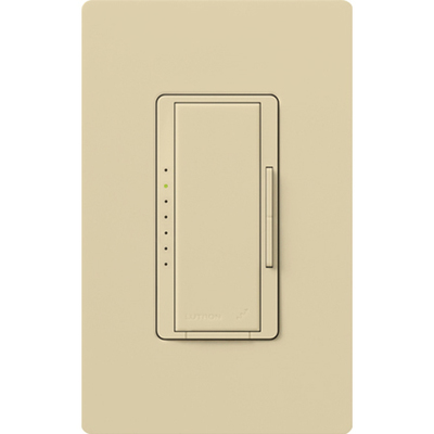 LUTRON MRF2-600M-IV Lutron MRF2-600M-IV Maestro Wireless® Single Pole Tap On/Off Dimmer Switch with RF Receiver; 120 Volt AC, 600 Watt, Incandescent/Halogen, Ivory