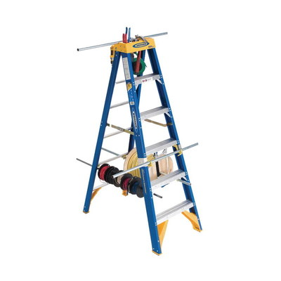 Ladders OBEL08 Werner OBEL08 Old Blue OBEL00 Series Type IAA Electrician's Jobstation Step Ladder; 8 ft, 375 lb, Fiberglass