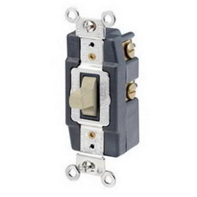 Leviton 1257-I Leviton 1257-I Toggle AC Quiet Wall Switch; 1-Pole, SPDT, 120/277 Volt AC, 20 Amp, Ivory