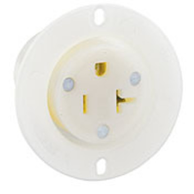Leviton 15379-C Leviton 15379-C #1CD Straight Blade Grounding Flanged Outlet Receptacle; 20 Amp, 125 Volt, 3-Wire, NEMA 5-20R, White
