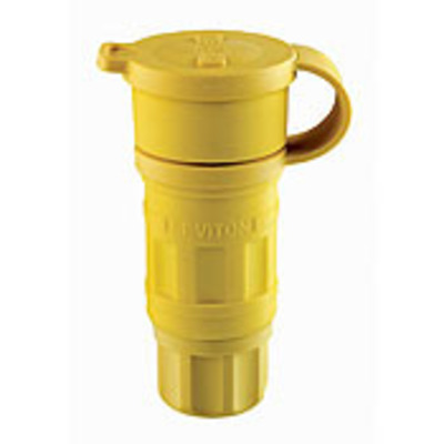 Leviton 15W47 Leviton 15W47 Wetguard® Dust Guard Grounding Straight Blade Connector; 15 Amp, 125 Volt AC, 2-Pole, 3-Wire, NEMA 5-15R, Yellow