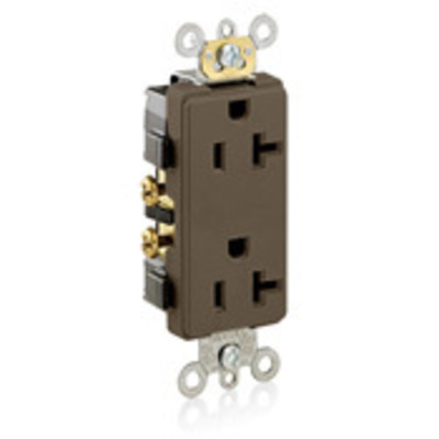 Leviton 16342 Leviton 16342 Decora® Plus Double Pole Straight Blade Duplex Receptacle; Wall Mount, 125 Volt, 20 Amp, Brown