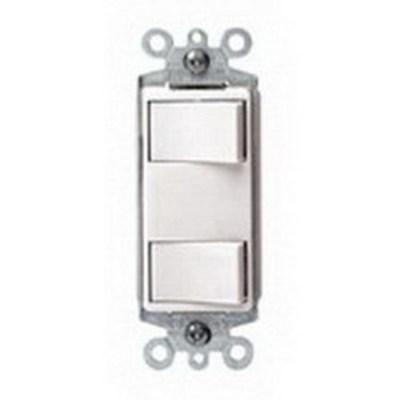 Leviton 1754-2W Leviton 1754-2W Decora® Combination Switch; 125 Volt, 15 Amp Switch, 20 Amp Total Device, 1-Pole, Grounding, Wallplate Mount, White
