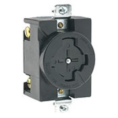 Leviton 20403 Leviton 20403 Locking Single Receptacle; Flush Mount, 600 Volt AC/250 Volt DC, 30/20 Amp, 3-Pole, 4-Wire, Black