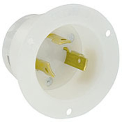 Leviton 2615 Leviton 2615 Grounding Flanged Inlet Locking Receptacle; 30 Amp, 125 Volt, 2-Pole, 3-Wire, NEMA L5-30P, White