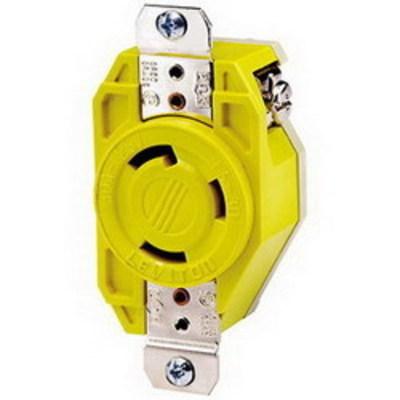 Leviton 26CM-10 Leviton 26CM-10 Locking Receptacle With Cover; 125 Volt, 14-8 AWG, 30 Amp, 2-Pole, Nylon, Yellow