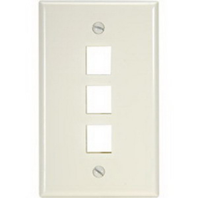 Leviton 40803-BA Leviton 40803-BA QuickPort® 1 Gang Wallplate; 3-Port, Flush Mount, Almond