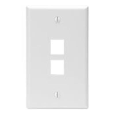 Leviton 41080-2WP Leviton 41080-2WP 1-Gang Standard Wallplate; Box, (2) Port, High Impact Flame Retardant Plastic, White