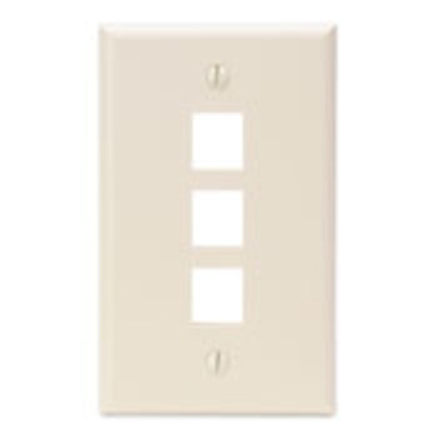 Leviton 41080-3TP Leviton 41080-3TP 1-Gang Standard Wallplate; Box/Flush, (3) Port, High Impact Flame Retardant Plastic, Light Almond