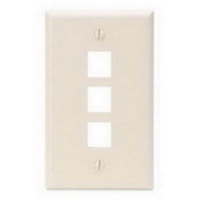 Leviton 41080-3TP Leviton 41080-3TP 1-Gang Standard Wallplate; Box/Flush, (3) Port, High Impact Flame Retardant Plastic, Light Almond
