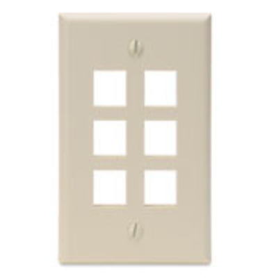 Leviton 41080-6IP Leviton 41080-6IP 1-Gang Standard Wallplate; Box/Flush, (6) Port, High Impact Flame Retardant Plastic, Ivory