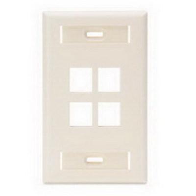 Leviton 42080-4TS Leviton 42080-4TS 1-Gang Standard Wallplate With ID Window; Flush, (4) Port, High Impact Flame Retardant Plastic, Light Almond