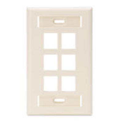 Leviton 42080-6TS Leviton 42080-6TS 1-Gang Wallplate With ID Window; Flush, (6) Port, High Impact Flame Retardant Plastic, Light Almond