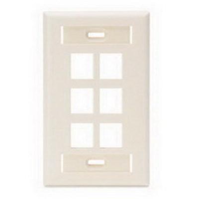 Leviton 42080-6TS Leviton 42080-6TS 1-Gang Wallplate With ID Window; Flush, (6) Port, High Impact Flame Retardant Plastic, Light Almond