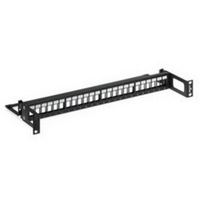 Leviton 49255-R24 Leviton 49255-R24 QuickPort® 24-Port Recessed Patch Panel; 1 Rack Unit, 16 Gauge Steel, Black With White Silk Screening