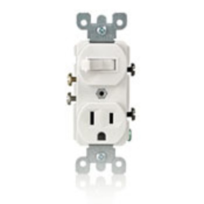 Leviton 5225-I Leviton 5225-I Decora® AC Duplex Combination Switch with Receptacle; 120 Volt AC Switch, 125 Volt AC Receptacle, 15 Amp, 1-Pole, Grounding, Ivory