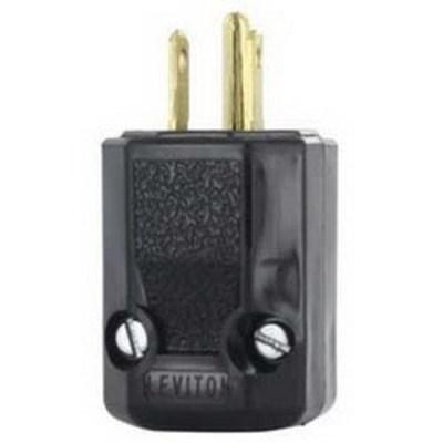 Leviton 5266-N Leviton 5266-N Black & White® Polarized Grounding Python Straight Blade Plug; 15 Amp, 125 Volt, 2-Pole, 3-Wire, NEMA 5-15P, Black
