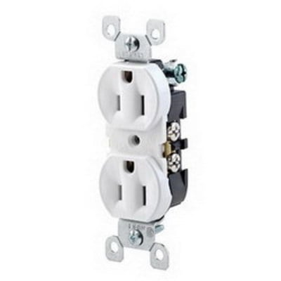 Leviton 5320-WCP Leviton 5320-WCP Straight Blade Contractor Pack Duplex Receptacle with Ears; Wallplate Mount, 125 Volt, 15 Amp, 2-Pole, 3-Wire, NEMA 5-15R, White