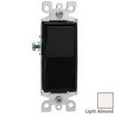 Leviton 5603-2T Leviton 5603-2T Decora® AC Quiet 3-Way Switch; 1-Pole, 120/277 Volt AC, 15 Amp, Light Almond