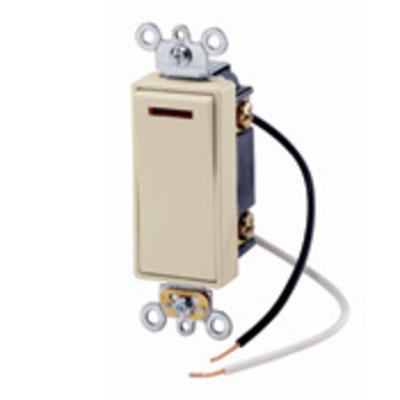 Leviton 5638-2I Leviton 5638-2I Decora® Commercial Rocker Pilot Light 3-Way AC Quiet Switch; 1-Pole, 120 Volt AC, 20 Amp, Ivory