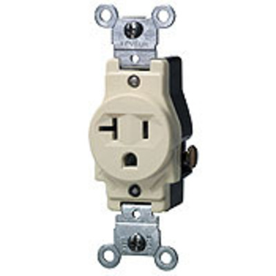 Leviton 5801 Leviton 5801 Double Pole Straight Blade Single Receptacle; Wall Mount, 125 Volt, 20 Amp, Brown