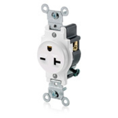 Leviton 5821-W Leviton 5821-W Double Pole Straight Blade Single Receptacle; Wall Mount, 250 Volt, 20 Amp, White