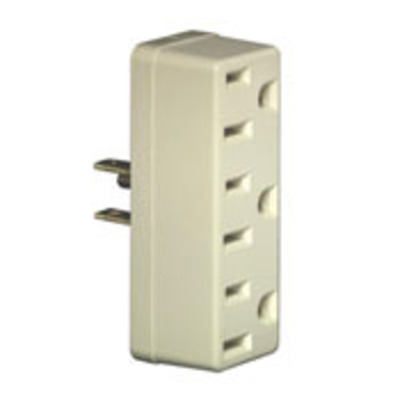 Leviton 697-I Leviton 697-I Single To Triple Tap Plug-In Outlet Adapter; 15 Amp, 125 Volt, Ivory