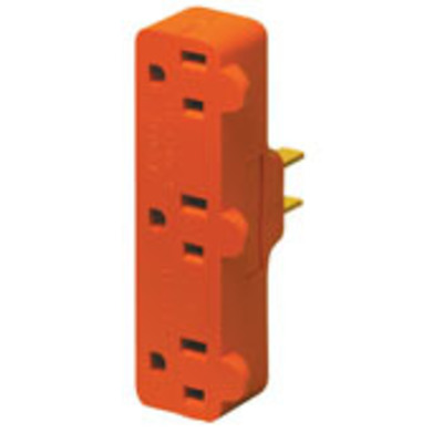 Leviton 699 Leviton 699 Single To Triple Tap Plug-In Outlet Adapter; 15 Amp, 125 Volt, Orange
