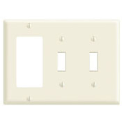 Leviton 80421 Leviton 80421 Decora® 3-Gang Standard-Size Combination Wallplate; Device Mount, Thermoset Plastic, Brown