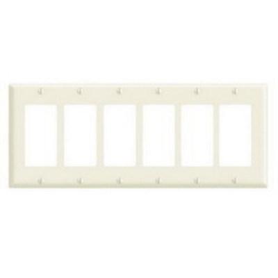 Leviton 80436-A Leviton 80436-A Decora® 6-Gang Standard-Size GFCI Decorator Wallplate; Device Mount, Thermoset Plastic, Almond