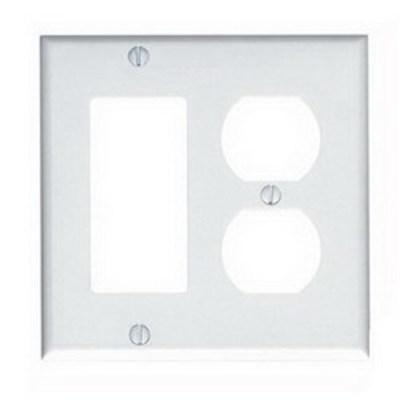 Leviton 80455-W Leviton 80455-W Decora® 2-Gang Standard-Size Combination Wallplate; Device Mount, Thermoset Plastic, White